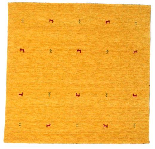 Gabbeh Loom Two Lines - Gul Tæppe 200X200 Moderne Kvadratisk Orange/Hvid/Creme (Uld, Indien)