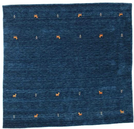 Gabbeh Loom Two Lines - Mørkeblå Tæppe 200X200 Moderne Kvadratisk Mørkeblå (Uld, Indien)
