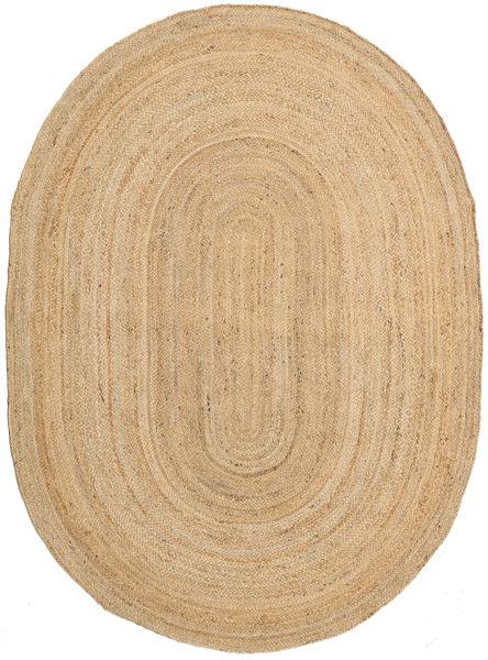 Frida Oval - Natural Tæppe 140X200 Ægte Moderne Håndvævet Mørk Beige/Beige ( Indien)