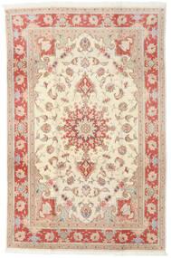 Tabriz 50 Raj Tæppe 190X293 Ægte Orientalsk Håndknyttet Beige/Lysebrun (Uld/Silke, Persien/Iran)