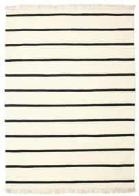 Dorri Stripe - Hvid/Sort Tæppe 140X200 Ægte Moderne Håndvævet Beige/Hvid/Creme (Uld, Indien)