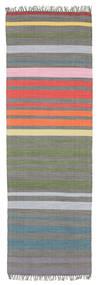 Rainbow Stripe - Grå Tæppe 80X250 Ægte Moderne Håndvævet Tæppeløber Mørkegrå/Lysegrå (Bomuld, Indien)