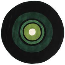 Schallplatte Handtufted Tæppe Ø 150 Moderne Rundt Mørkegrøn (Uld, Indien)