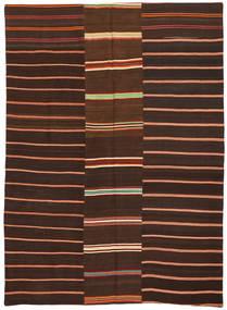 Kelim Patchwork Tæppe 175X241 Ægte Moderne Håndvævet Mørkebrun/Mørkerød (Uld, Tyrkiet)