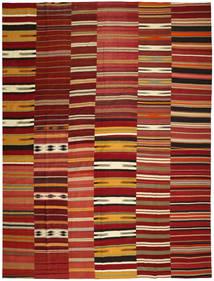 Kelim Patchwork Tæppe 355X444 Ægte Moderne Håndvævet Mørkerød/Rød Stort (Uld, Tyrkiet)