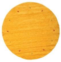 Gabbeh Loom Two Lines - Gul Tæppe Ø 200 Moderne Rundt Orange (Uld, Indien)