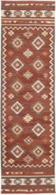 Kelim Malatya Tæppe 80X300 Ægte Moderne Håndvævet Tæppeløber Mørkerød/Mørkebrun (Uld, Indien)