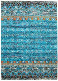 Quito - Turquoise Tæppe 240X340 Ægte Moderne Håndknyttet Turkis Blå/Lysegrå (Silke, Indien)