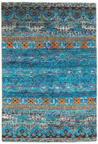 Quito - Turquoise Tæppe 160X230 Ægte Moderne Håndknyttet Turkis Blå/Mørkegrå (Silke, Indien)
