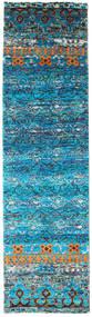 Quito - Turquoise Tæppe 80X300 Ægte Moderne Håndknyttet Tæppeløber Turkis Blå/Blå (Silke, Indien)
