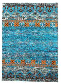 Quito - Turquoise Tæppe 140X200 Ægte Moderne Håndknyttet Turkis Blå/Blå (Silke, Indien)
