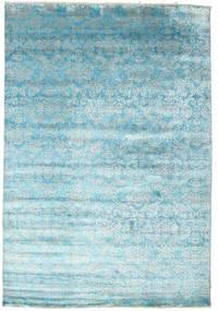 Damask Tæppe 204X299 Ægte Moderne Håndknyttet Lyseblå/Turkis Blå ( Indien)
