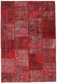 Patchwork Tæppe 157X230 Ægte Moderne Håndknyttet Mørkerød/Rød (Uld, Tyrkiet)