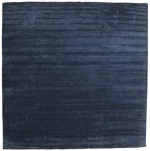 Handloom Fringes - Mørkeblå Tæppe 400X400 Moderne Kvadratisk Mørkeblå/Blå Stort (Uld, Indien)