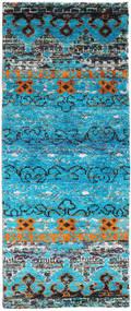 Quito - Turquoise Tæppe 80X200 Ægte Moderne Håndknyttet Tæppeløber Turkis Blå/Lysegrå (Silke, Indien)