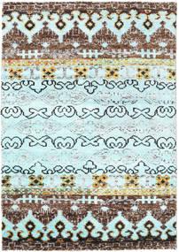 Quito - L. Blå Tæppe 140X200 Ægte Moderne Håndknyttet Turkis Blå/Lyseblå (Silke, Indien)