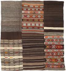 Kelim Patchwork Tæppe 204X227 Ægte Moderne Håndvævet Mørkebrun/Mørkerød (Uld, Tyrkiet)