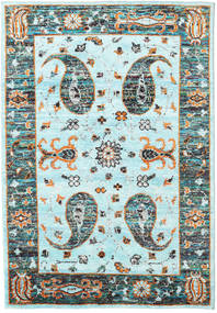 Vega Sari Silke - L.blue Tæppe 160X230 Ægte Moderne Håndknyttet Turkis Blå/Mørkegrå (Silke, Indien)