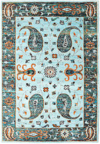 Vega Sari Silke - L.blue Tæppe 210X290 Ægte Moderne Håndknyttet Turkis Blå/Lysegrå (Silke, Indien)