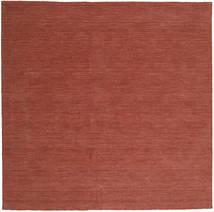 Kelim Loom - Rust Tæppe 250X250 Ægte Moderne Håndvævet Kvadratisk Mørkerød Stort (Uld, Indien)