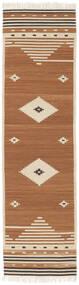 Tribal - Sennep Tæppe 80X300 Ægte Moderne Håndvævet Tæppeløber Brun/Lysebrun/Beige (Uld, Indien)