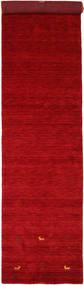 Gabbeh Loom Two Lines - Rød Tæppe 80X350 Moderne Tæppeløber Rød/Mørkerød (Uld, Indien)