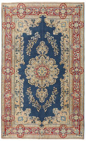 Kerman Patina Tæppe 147X240 Ægte Orientalsk Håndknyttet Lysebrun/Mørkeblå (Uld, Persien/Iran)