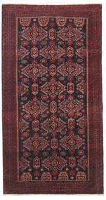 Beluch Patina Tæppe 95X177 Ægte Orientalsk Håndknyttet Mørkerød/Sort/Mørkebrun (Uld, Persien/Iran)