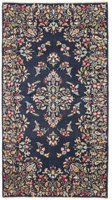 Kerman Patina Tæppe 92X170 Ægte Orientalsk Håndknyttet Tæppeløber Mørkegrå/Mørkeblå (Uld, Persien/Iran)