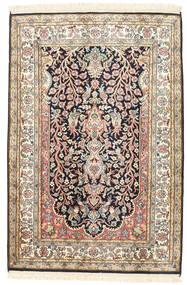 Kashmir Pure Silke Tæppe 81X120 Ægte Orientalsk Håndknyttet Beige/Mørkegrå (Silke, Indien)