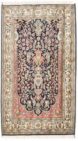 Kashmir Pure Silke Tæppe 83X126 Ægte Orientalsk Håndknyttet Beige/Mørkelilla (Silke, Indien)