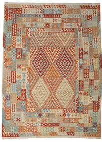 Kelim Afghan Old Style Tæppe 258X349 Ægte Orientalsk Håndvævet Lysebrun/Mørkerød Stort (Uld, Afghanistan)