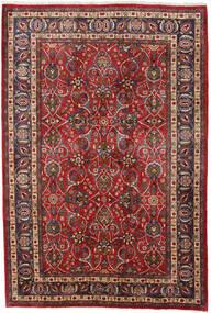 Mashad Tæppe 196X292 Ægte Orientalsk Håndknyttet Mørkerød/Mørkebrun (Uld, Persien/Iran)