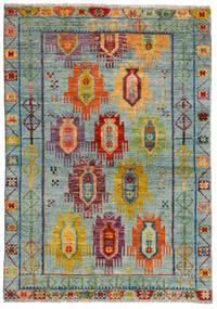 Moroccan Berber - Afghanistan Tæppe 124X176 Ægte Moderne Håndknyttet Lysegrå/Brun (Uld, Afghanistan)