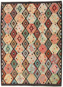Kelim Afghan Old Style Tæppe 216X291 Ægte Orientalsk Håndvævet Mørkebrun/Mørk Beige (Uld, Afghanistan)