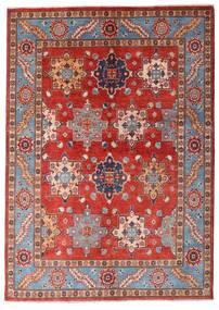 Kazak Tæppe 144X203 Ægte Orientalsk Håndknyttet Mørkerød/Rust (Uld, Afghanistan)