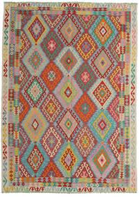 Kelim Afghan Old Style Tæppe 206X287 Ægte Orientalsk Håndvævet Mørkerød/Turkis Blå (Uld, Afghanistan)