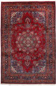 Mashad Tæppe 192X297 Ægte Orientalsk Håndknyttet Mørkerød/Sort (Uld, Persien/Iran)