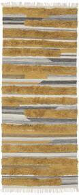 Sunny - Gul Tæppe 100X250 Ægte Moderne Håndvævet Tæppeløber Brun/Mørkebrun (Uld, Indien)