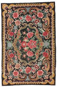 Rose Kelim Moldavia Tæppe 191X285 Ægte Orientalsk Håndvævet Sort/Mørkegrå (Uld, Moldova)