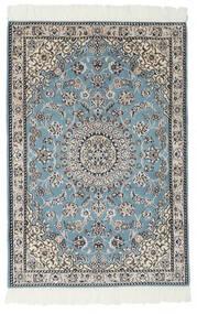 Nain 9La Tæppe 80X117 Ægte Orientalsk Håndknyttet Sort/Lysegrå (Uld/Silke, Persien/Iran)