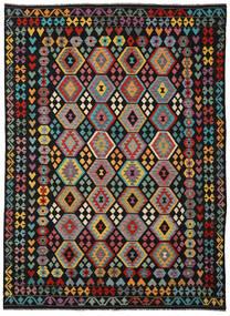 Kelim Afghan Old Style Tæppe 253X346 Ægte Orientalsk Håndvævet Sort/Mørkegrå Stort (Uld, Afghanistan)